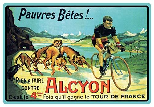Metalen bord 30x20cm Alcyon Tour De France fiets race nostalgie metalen bord