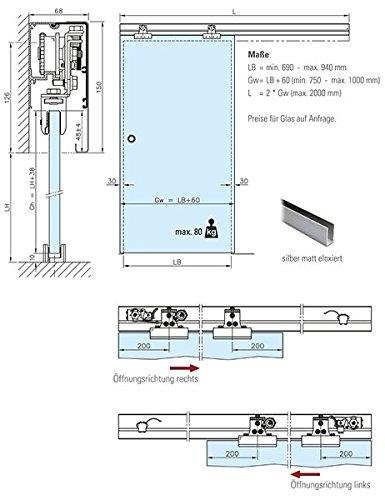 Puerta corredera-sistema de 100 cm de longitud de 2,0 M: Amazon.es ...