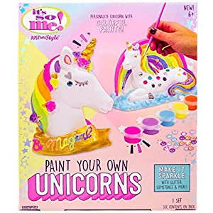 2 plaster unicorns: paint & decorate 2 plaster unicorns. Metallic & neon paints: create shimmering, vibrant creations with the included metallic and neon paint sets. Add sparkle: make your unicorns sparkle and shine with sequins, gemstones and glitte...