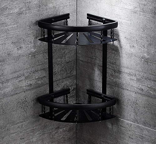 M-J Raum Aluminium Schwarz Badezimmer Eckzarge Retro Badezimmer Rack Free Punching Badezimmer Doppel Dreieck Korb Lagerregal