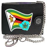 Zimbabwe Drapeau Carte Armoiries KLASSEK Hommes Portefeuille avec chaîne Cuir véritable RFID Blocage Poche à Monnaie avec Boîte en Métal