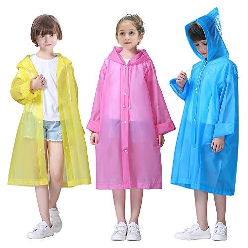 LAMA 3 Stück Kinder Regenponcho Wiederverwendbar Regenmantel Regenbekleidung Regencape Regenjacke Raincoat für Fahrrad Wandern Camping Reisen Konzert Stadion Festival
