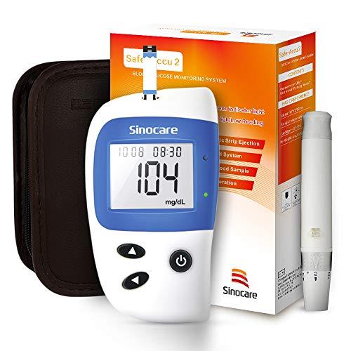 sinocare bloedglucosemeter, Safe-Accu2 bloedglucosetestkit met bloedglucoseteststrips x 50 + bloedsuikertestlancet x 50 + diabetische prikpen zonder code - mg/dL