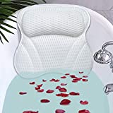 Bath Pillow, SPA Pillow for Bathtub Support Neck,Head and Back with Strong Non-Slip Suction Cups and Comfortabl 3D AirMesh Bath Pillow for men and women