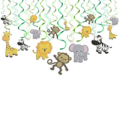 Konsait Tier Party deko Hängedekoration Folie Spiral Girlanden für Kinderparty Junge und Mädchen Geburtstags Dekoration, 30 teilig Set
