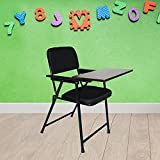 Heavy Duty Chair, Easy to carry outdoor, Weighing in at only 4.5 kgs , it easily supports up to 100 kgs Portable, Easy to carry and store, A writing pad is attached to the armrest Color: Black, Finish: Matt Finish, Style: Contemporary