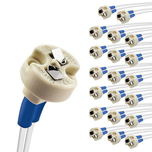 DiCUNO 20P MR16/GU5.3/MR11/G4 Keramik Fassung mit 15CM Kabel, 12-250V, Bi-Pin Base für Halogen/LED-Lampe, für G6.35, GY6.35, GX5.3, GU5.3, GZ4.