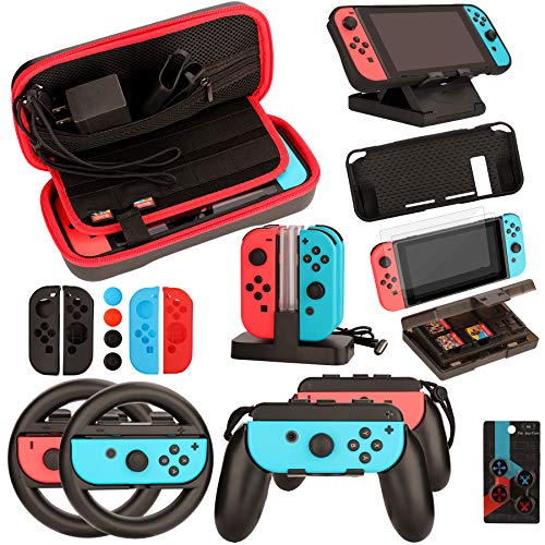 Switch Accessories Bundle for Nintendo Switch: Carrying Case, Screen Protector, Joycon Grips, Steering Wheels, Charging Dock, Playstand, Comfort Joy-Con Case and More (23 in 1)
