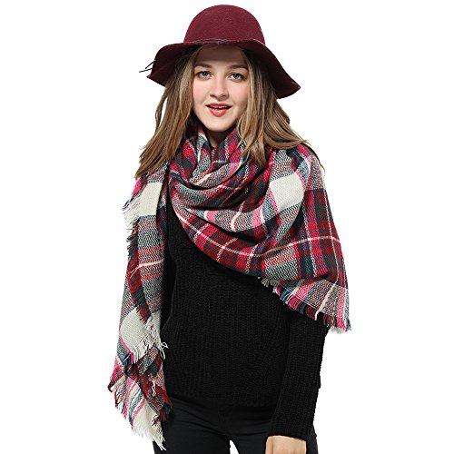 Blanket Scarves for Women Big Plaid Scarfs Womens Checked Lattice Winter Scarves (one size, Rose Plaid)