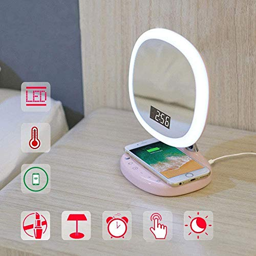 MME LED multifunctionele wekker Touch draadloos opladen van de mobiele telefoon bureaulamp slaapkamer meisje make-up spiegel tafellamp - USB-opladen, roze