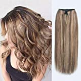 ABH AmazingBeauty Hair Miracle Wire Hair Extensions - Invisible Miracle Wire Remy Human Hair, 6-12 Chestnut Brown with Dark Dirty Blonde Highlights, 20 Inch