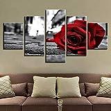 Xzfddn Póster modular en blanco y negro para decoración de la sala de estar, pintura de pared de 5 piezas, romántica rosa roja flores lienzo cuadros