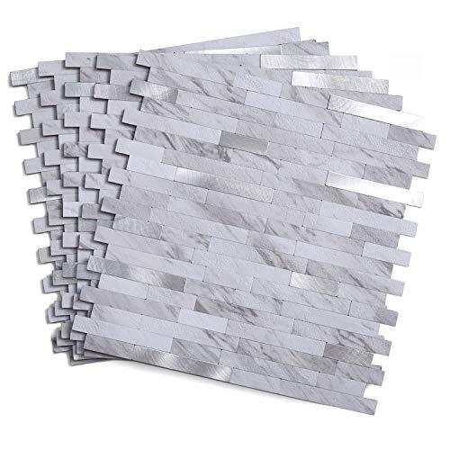 5 Tiles 11.5'× 11.7' Peel and Stick Backsplash Tile, Faux Volakas White Stone Wall Backsplash, 4.67 sq.ft