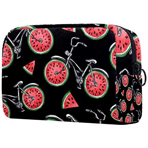 Bolsa de cosméticos Bolsa de Maquillaje para Mujer para Viajar Llevar cosméticos Cambiar Llaves, etc.,Bicicletas con Ruedas Sandía