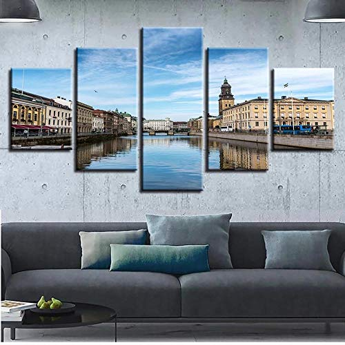 MOXIGE 5 delar utomhus/kök väggdekor – Sverige stad Göteborg målning Adornos Para La Sala Elegantes sträckt och inramad canvasmålningar redo att hänga för jul väggkonst – 200 x 100 cm