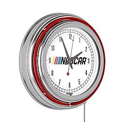 NASCAR Chrome Double Rung Neon Clock