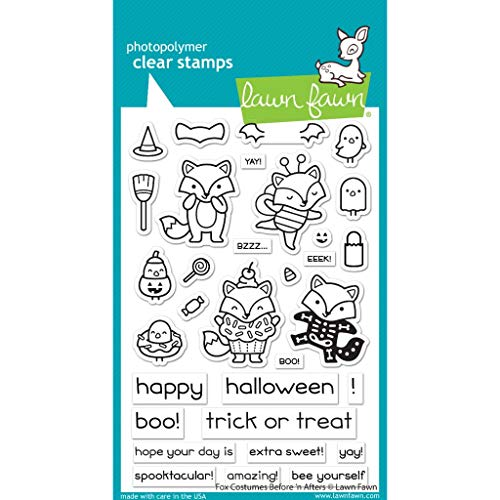 Lawn Fawn LF2401 Fox Costumes Before 'n Afters 4X6 Clear Stamp Set