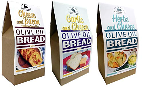 Rabbit Creek Olive Oil Bread Mix Variety Pack of 3 – Herb & Cheese, Garlic & Cheese, and Cheese & Bacon Bread Mix