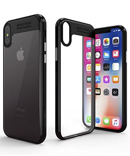 Urcover iPhone X Hülle, Focus Case I Slim Edition I TPU Cover QI-fähig I Kamera Schutz-Hülle für iPhone 10 /X I Handy-Tasche in Schwarz