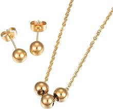 Lady Bling Bling Damen Schmuck-Set Halskette mit Anhängern und Ohrringe aus Edelstahl Perlen Kugeln Kreise Rund inkl. Etui