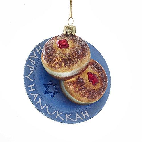 Kurt S. Adler Kurt Adler 4.5-Inch Noble Gems Glass Hanukkah Jelly Donut Ornament