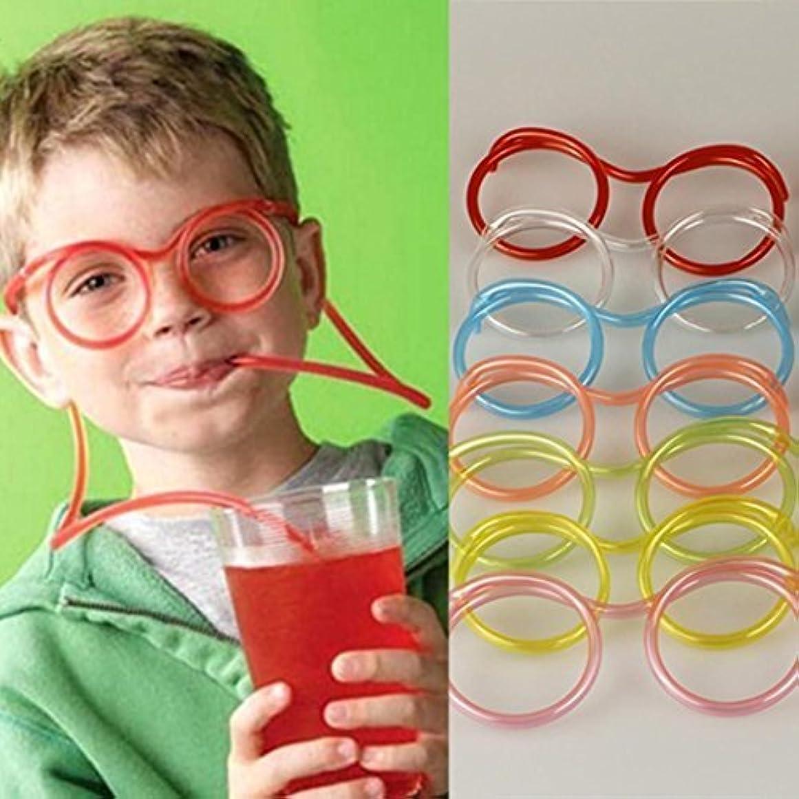 曲がったイライラする怒る子供の狂った管の柔軟なギフトパーティーストロー楽しい目新しさを飲んでガラスの供給