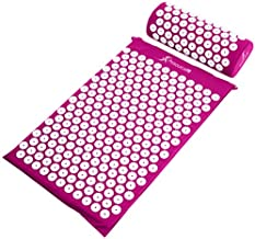 ProsourceFit Acupressure Mat and Pillow Set for Back/Neck Pain Relief and Muscle Relaxation, Purple