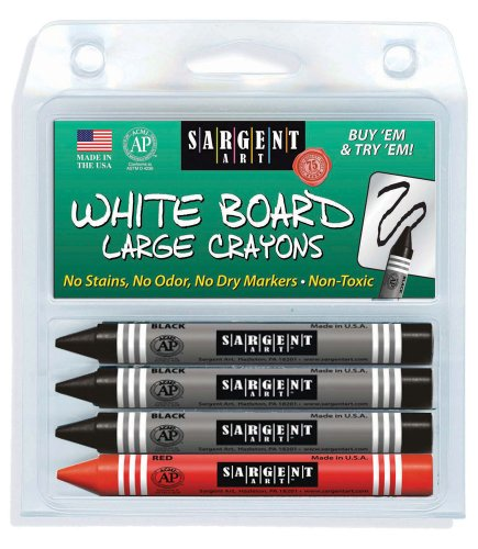 Sargent Art 35-0523 4-Count Regular Wipe-Off White Board Crayons, Peggable Clam