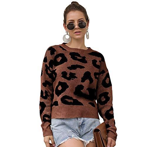 Mini Balabala Damen Cardigan Strickjacke Pullover Sweatshirts Leopard Oberteile Jacke Lang Langarmshirts Poncho für Frauen Herbst Winter S Kaffee-kurzer Stil