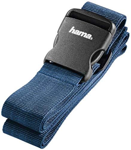 Hama Gepäckgurt, Band zum sicheren Verschließen der Koffers auf Reisen, dunkelblau, 5x200 cm