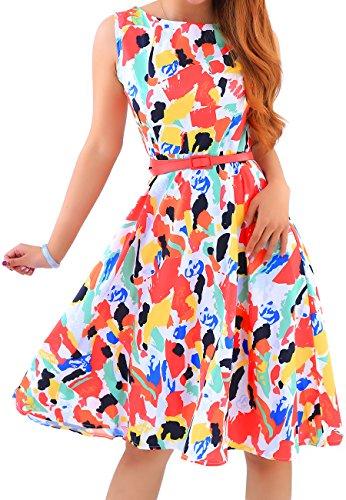 OMZIN Damen Kleid 50er Hepburn Stil Cocktailkleid Knielanges Sommerkleid,Rot,S