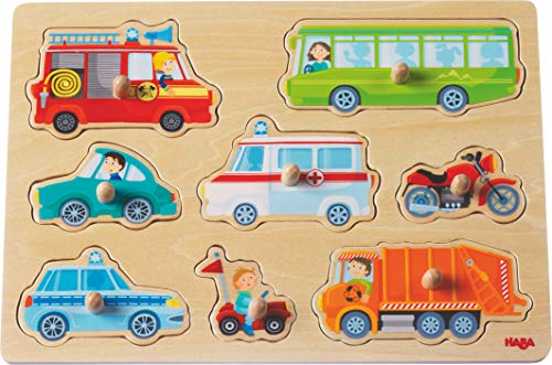 HABA 301940 - Greifpuzzle Fahrzeug-Welt   Holzspielzeug ab 12 Monaten   8-teiliges Puzzle aus Holz mit bunten Fahrzeugmotiven   Mit großen Knöpfen zum Greifen