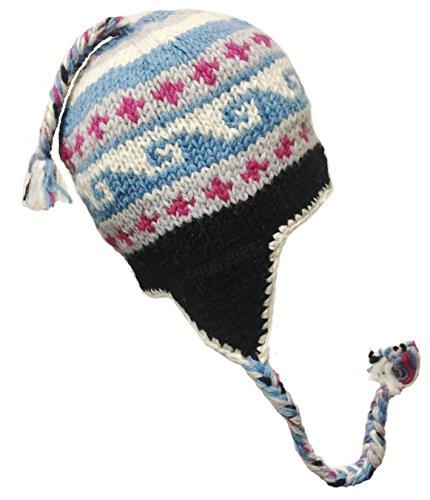 Nepal Hand Knit Sherpa Hat with Ear Flaps, Trapper Ski Heavy Wool Fleeced Lined Cap (Multicolor Waves)