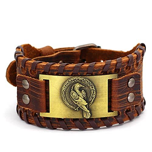 SYF@QYY Vikingo Odin Cuervo Cuero Pulsera Hombre Mitología Nórdica Punk Joyería Amuleto Pagano Celta Ajustable,Oro