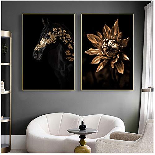Goldene Blume und schwarzes Pferd Leinwand Malerei moderne Wohnzimmer Dekoration Poster Drucke Wandkunst Bilder für Home Design 60x80cm (24x32in) × 2