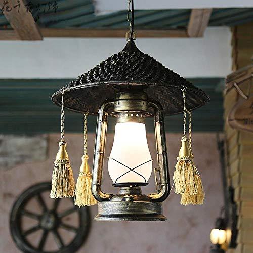 Beautiful lampen/Retro hanglamp, industriële verlichting creatief bronzen loft ijzerketting met kwast hanglamp persoonlijkheid stijl versiering ronde glazen lampenkap design antieke kroonluchter