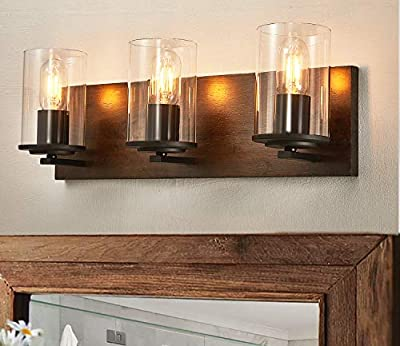 DADUL Farmhouse Vanity Light,3-Light Bathroom Wood Wall Sconce Lighting with Clear Glass Lights Shade, Rustic Vintage Wall Light Fixture Over Mirror for Bedroom,Kitchen,Living Room,Hallway.