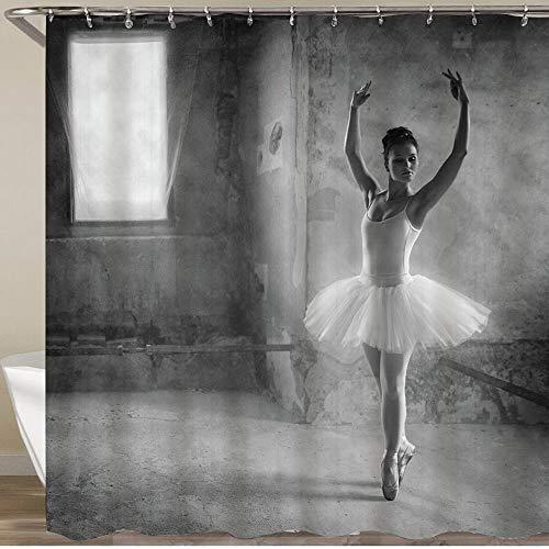 KOSALAER Duschvorhang,Balletttänzer Ballerina Dancing Malerei,Vorhang Waschbar Langhaltig Hochwertig Bad Vorhang Polyester Stoff Wasserdichtes Design,mit Haken 180x180cm