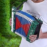Alinory Acordeón para niños, Piano bajo, acordeón de Piano Ligero Ajustable con 8 Bajos para Estudiantes para Principiantes(Green)