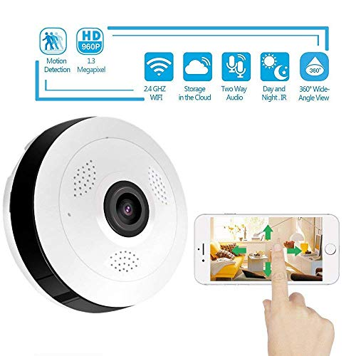 IP Camera Wireless Fisheye bewakingscamera's 360 graden panorama met IR Night Vision Ondersteuning twee-weg audio, for een kind/Dier/Elder HAOSHUAI