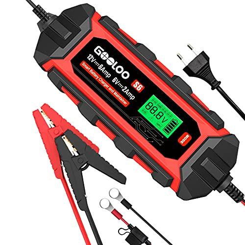 GOOLOO Cargador de Batería Coche 6A 12V / 2A 6V Mantenimiento Automático Inteligente con LED Inteligente Pantalla para Coche Moto ATV RV Barco