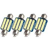 Safego 36mm LED ルームランプ 上質な白色光 車内ランプ 室内灯 トランクルーム LED電球 12V車用 30連 3014SMD 6000K 6411 DE3425 高輝度 3W 4個入り
