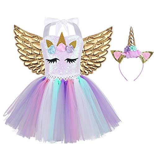 IEFIEL Disfraz Unicornio con Diadema Alas Niña Vestido Tutú Princesa Lentejuelas Disfraces Cumpleaños Fiesta Ceremonia Disfraz Infantil Carnaval Dorado 10-12 Años