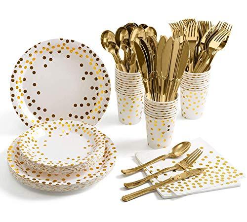 ZIMAIC 141 Stück Weiß Gold Partyzubehör Pappbecher Pappteller Set, Einweg Papier Geschirr Set einschließlich Tischdecke Teller Becher Servietten zum Geburtstag, Hochzeiten, Jubiläums (20 Gäste)