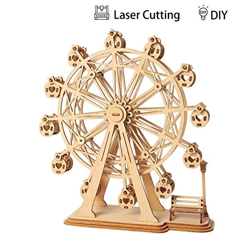 3D Puzzle Ferris Wheel Wooden Jigsaws Kit Wooden Puzzles Robotime DIY Hand Craft Mechanical Toy Gift for Kids Teens Adults