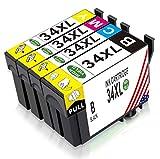 Toner Kingdom 4 Paquet Compatibles pour Epson 34XL (T3471 T3472 T3473 T3474) Cartouches d'encre pour...