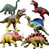 RENFEIYUAN Realistic Toys 6 Pack 7 Large Size Plastic Dinosaset for Kids and Toddler Education, Including Trex, Stegosaurus, Monoclonius, etc Dinosaurs Models