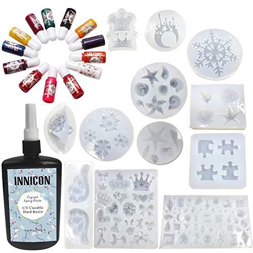 13 kleuren Pigment 12X Silicone 250g UV-kristal Epoxyhars Helder Transparant UV-lijm Snelle uitharding voor handgemaakte sieraden Ambachtelijke voor DIY Hangers Bedels Kettingen Oorbellen Maken