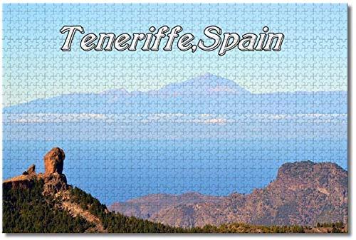 Nicoole España Islas Canarias Teneriffe Rompecabezas para adultos Niños 1000 piezas Juego de rompecabezas de madera para regalos Decoración del hogar Recuerdos especiales de viaje