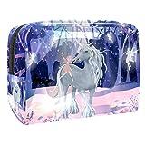 Kit de Maquillaje Elfo Unicornio del Bosque Neceser Makeup Bolso de Cosméticos Portable Organizador Maletín para Maquillaje Maleta de Makeup Profesional 18.5x7.5x13cm
